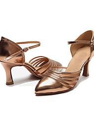 Non Customizable Women's Dance Shoes Satin Satin Latin Heels Low Heel Practice / Performance Black / Gold