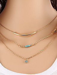 Alloy Gold Layered Chain Necklace with Beads Smile Pendant