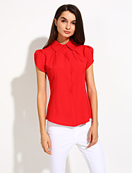 Women's Shirt Collar Pleated Blouse , Cotton Short Sleeve