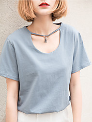 Women's Solid Loose Tassel Pendant Hollow-out T-shirt,Round Neck Short Sleeve