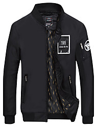 Men's Long Sleeve Casual / Work / Formal / Sport / Plus Sizes Jacket,Cotton / Polyester Solid Black