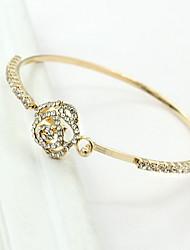 Gold/Silver Alloy Rose Cuff Bangle Bracelet
