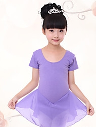 Ballet Dresses Children's Training Chiffon / Cotton Pleated 1 Piece  Short Sleeve  Kid's Dance Costumes