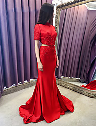 Formal Evening Dress Trumpet / Mermaid High Neck Sweep / Brush Train Satin with Appliques / Beading