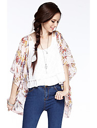 coração Soul® Feminino Decote Redondo 1/2 Comprimento da luva Vest & Colete Roxa / Laranja-W0422822R