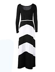 Women's Sexy Inelastic Long Sleeve Maxi Dress (Cotton Blends)