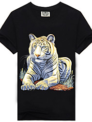 Men's Summer Popular Personality Creative Cotton Great White Tiger 3D T-shirts
