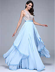 TS Couture Prom Formal Evening Dress - See Through A-line Jewel Floor-length Chiffon with Beading Sash / Ribbon