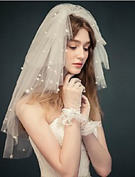 Wedding Veil Four-tier Blusher Veils / Elbow Veils Cut Edge Tulle White White / Ivory