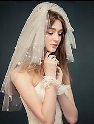 Свадебные вуали Четыре слоя Короткая фата Фата до локтя Обрезанная кромка Тюль Белый Цвет слоновой кости