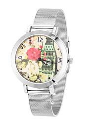 Mulheres Relógio de Moda / Relógio de Pulso Quartz Relógio Casual Aço Inoxidável Banda Flor / Legal Prata / Dourada marca-