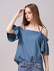 Women's Going out Street chic Summer Blouse,Solid Strap Short Sleeve Blue Cotton Thin