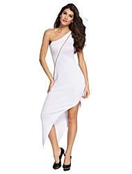 Women's Single-shoulder Zipped Asymmetric Dress