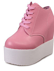 Women's Heels Fall Round Toe PU Casual Wedge Heel Lace-up Black / Pink / White Others