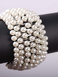 White Pearl Tennis Strand Bracelet for Lady Party