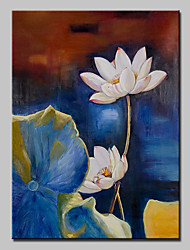 Hand Painted Canvas Oil Painting Modern Abstract Lotus Flower Art Picture With Stretched Frame Ready To Hang