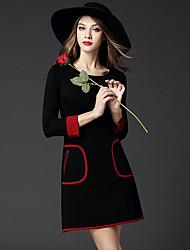 BOMOVO® Femme Col Arrondi Manches 3/4 Genou Robes-B15QQT6