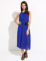 Women's Party/Cocktail Simple Chiffon / Swing Dress,Solid Halter Maxi Sleeveless Blue / Pink / Red / White / Black / Purple Polyester