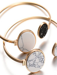 Alloy Round Natural Stone Gem Adjustable Cuff Bangle Bracelet