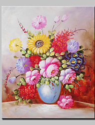 Hand Painted Bottle Flowers Oil Painting On Canvas Modern Wall Art Picture With Stretched Frame Ready To Hang