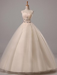 Ball Gown Wedding Dress Floor-length Straps Tulle with Beading
