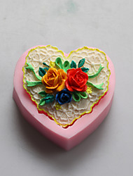 Heart Shape Flower Chocolate Silicone Molds,Cake Molds,Soap Molds,Decoration Tools Bakeware