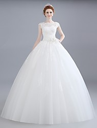 Ball Gown Wedding Dress Floor-length Bateau Lace / Satin / Tulle with Flower / Lace