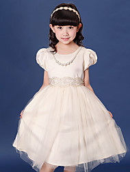 A-line Tea-length Flower Girl Dress - Cotton / Satin / Tulle Short Sleeve Jewel with Sash / Ribbon