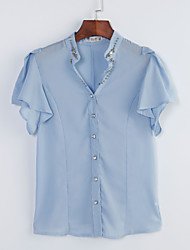 Mulheres Blusa Formal Simples Primavera / Verão / Outono,Sólido Azul / Branco / Verde Poliéster Decote V Manga Curta Fina