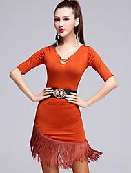 Latin Dance Dresses Women's Performance Tulle / Milk Fiber Sash / Tassel 3 Pieces Black / Orange / Gray Half Sleeeve