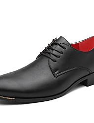 Черный Белый-Мужской-Свадьба Для офиса-Материал на заказ клиента-На толстом каблукеТуфли на шнуровке