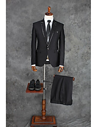 Suits Tailored Fit Notch Single Breasted One-button Polyester Solid 2 Pieces Straight Flapped Single Black Single