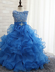 Flower Girl Dress Ball Gown Floor-length - Tulle Sleeveless Halter with Beading