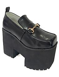 Schuhe Punk Lolita Stöckelschuh Schuhe einfarbig 12 CM Schwarz Für Damen Leder