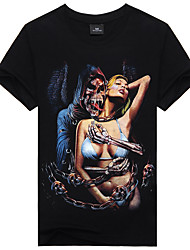 Men's Summer Fashion Beauty And Devil Skeleton Cotton T-shirts