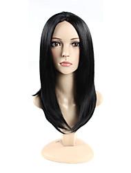 parte media # 1 largas pelucas sintéticas rectas del casquillo para la mujer