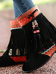 Boots Summer Fall Fabric Outdoor Casual Low Heel Tassel Black Blue Yellow