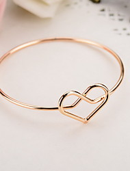 Alloy Heart Natural Stone Gem Adjustable Cuff Bangle Bracelet