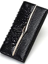 Women Patent Leather Formal / Casual Wallet Black
