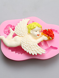 Angel Holding Flowers Chocolate Silicone Molds,Cake Molds,Soap Molds,Decoration Tools Bakeware