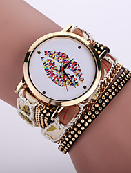 Women's Bohemian Style Fabric Band White lip Mouse Case Analog Quartz Layered Bracelet Fashion Watch