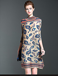 Casual/Daily / Formal Simple Loose Dress,Print Crew Neck Knee-length ½ Length Sleeve Blue / Yellow Polyester