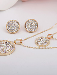 Europe And The United States Contracted Circular Diamond Alloy Jewelry Set