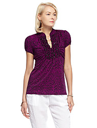 mulheres heartsoul de sair t-shirt simples verão, v pescoço sólida manga curta de poliéster roxo / spandex fina