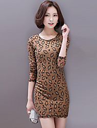 Women's Casual/Daily Street chic Plus Size / Bodycon Dress,Print Round Neck Above Knee Long Sleeve Blue / Black