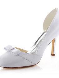 Damen-High Heels-Hochzeit / Kleid / Party & Festivität-Stretch - Satin-Stöckelabsatz-Absätze / Rundeschuh-Weiß