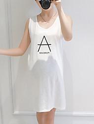 Ample Robe Maternité Décontracté / Quotidien simple,Imprimé Col en V Au dessus du genou Sans Manches Blanc Coton Eté