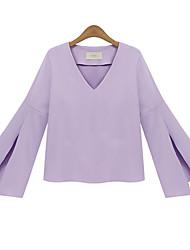 Women's New Style Sexy V Collar Mandarin Sleeve OL Bottom wm  Loose Plus Size Top Shirt