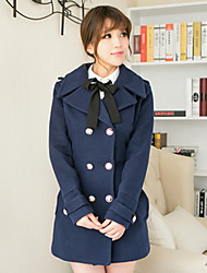 Women's Going out Simple Coat,Solid Shirt Collar Long Sleeve Winter Blue / Red / Black Polyester Thick