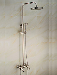 Shower Faucet Antique Waterfall / Rain Shower / Handshower Included / Pullout Spray / Rotatable Brass Nickel Brushed